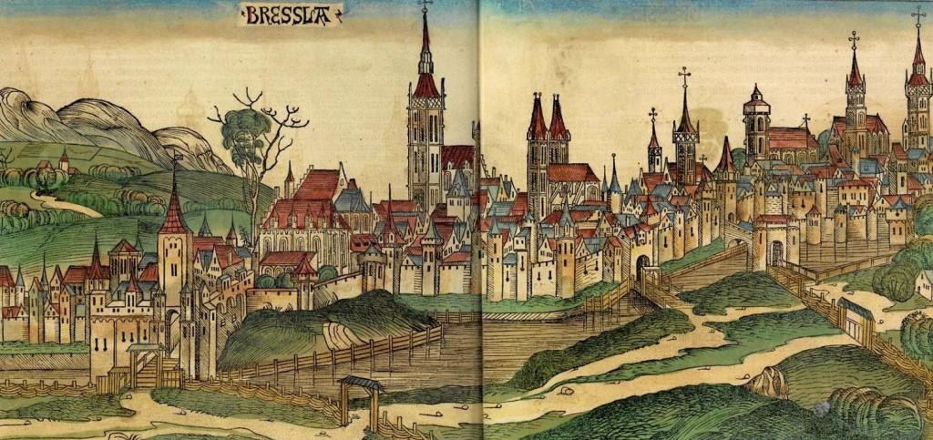 Wrocław na starej panoramie z 1493 roku - Nazwa miasta Bressla