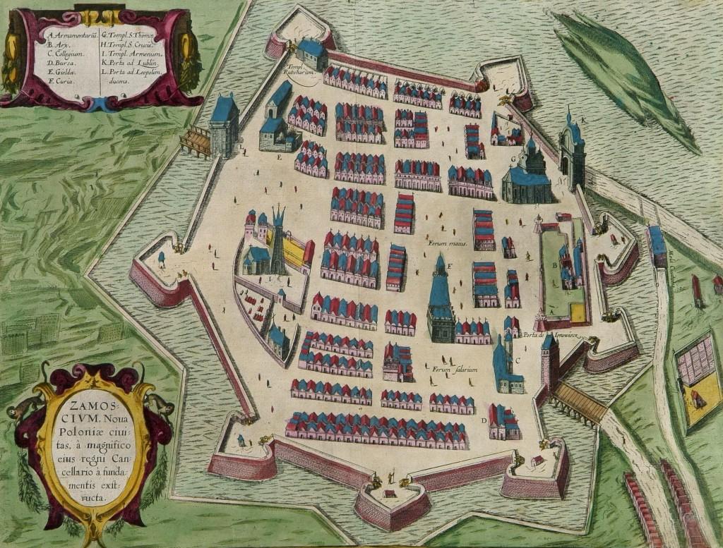 Widok z perspektywy na Twierdzę Zamość - rok 1617
