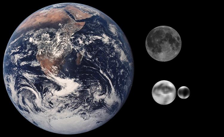 Ziemia, Księżyc, Pluton i Charon w identycznej skali - Foto: NASA