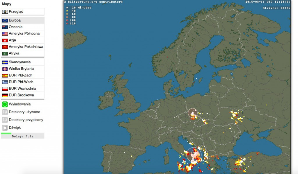 Blitzortung.org - Mapa Wyładowań