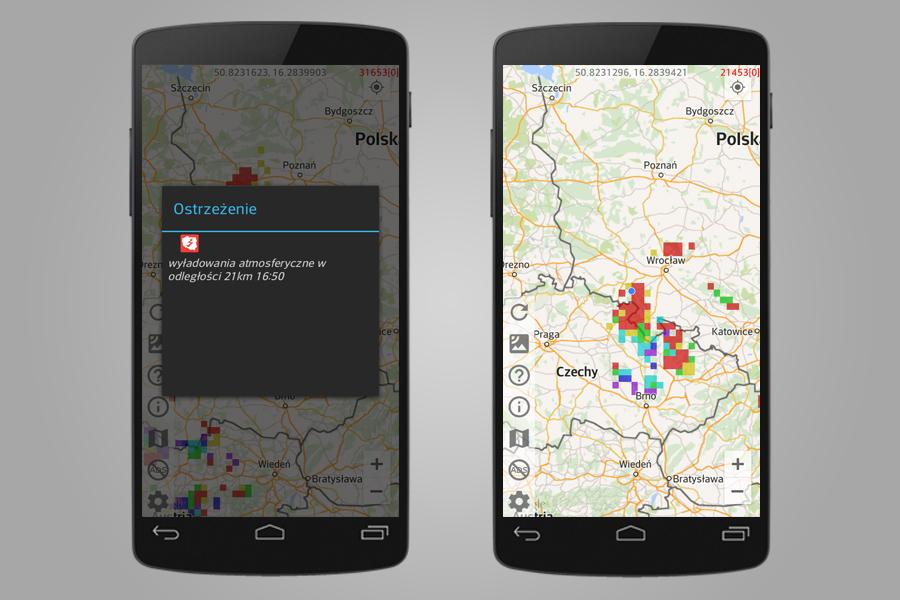 Burze nad Polską i Europą - Aplikacja Mobilna