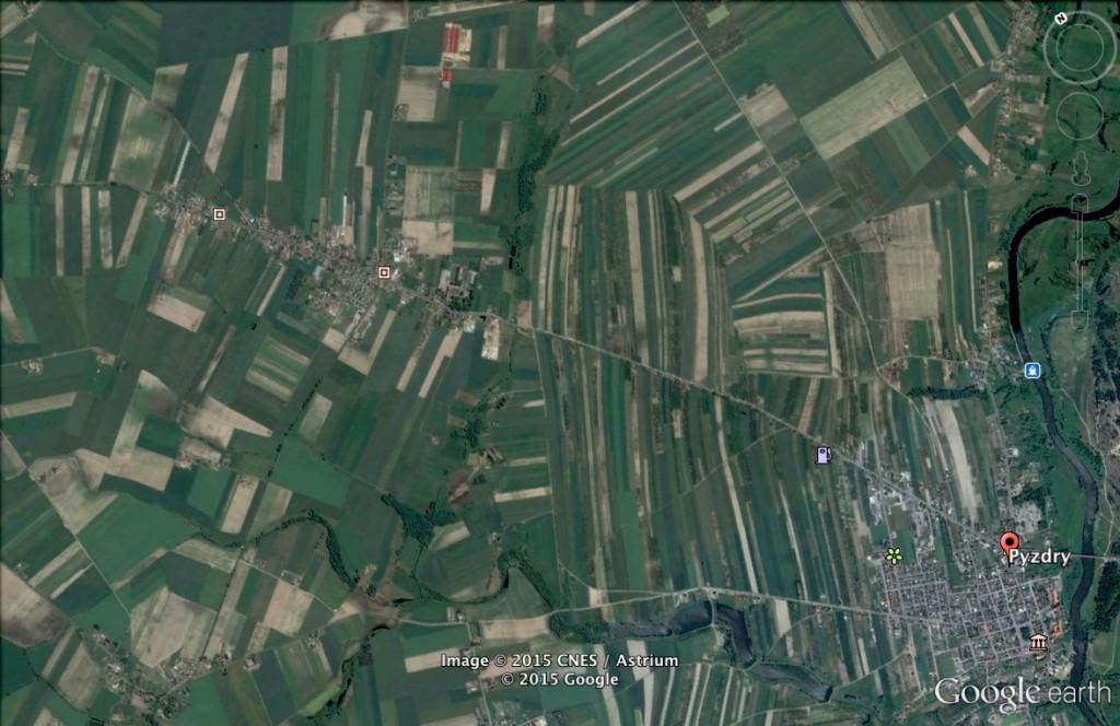 Granica zaborów w Pyzdrach - 10 Ciekawych Miejsc w Polsce - Źródło: Google Earth