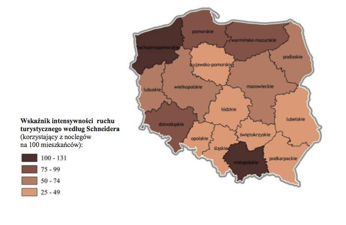 Turystyka w Polsce - Wskaźnik intensywności ruchu turystycznego według Schneidera według województw w 2014 r. - Źródło: GUS