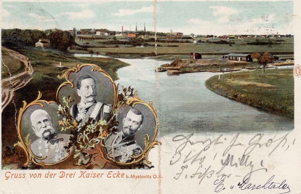 Kartka pocztowa z Trójkąta Cesarzy. Po lewej Niemcy, po prawej Austria, na górze tereny Rosji.