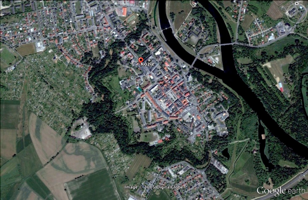 Twierdza Koźle - 10 Ciekawych Miejsc w Polsce - Źródło: Google Earth