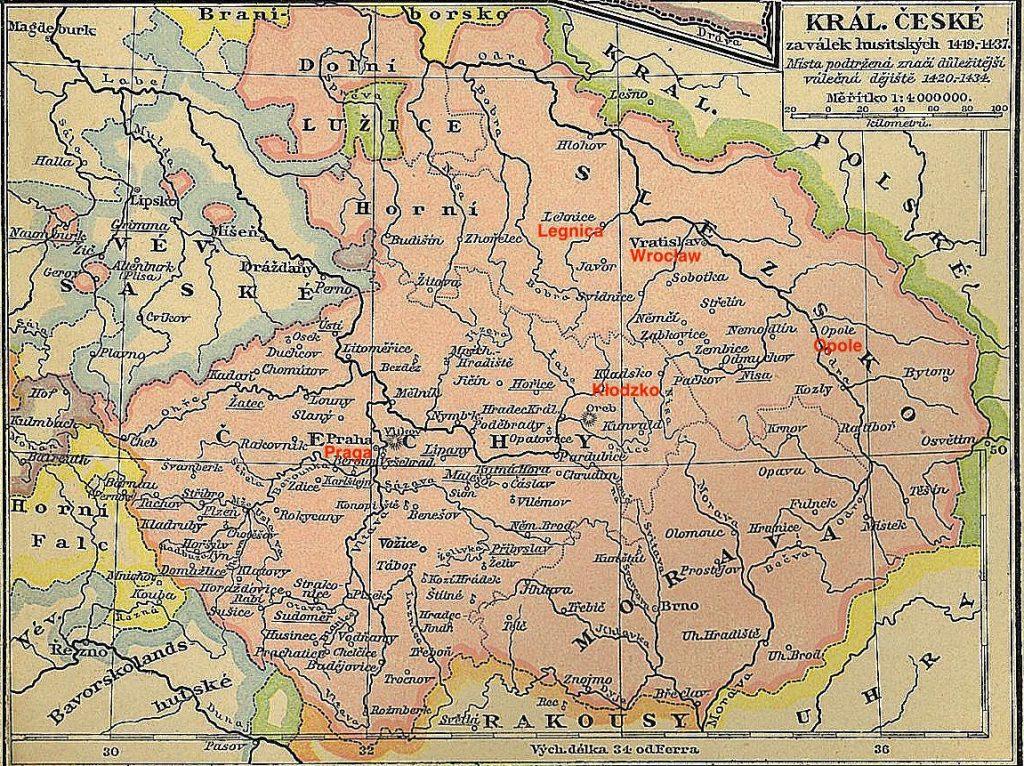 Mapa Królestwa Czech z XV w. wraz z obszarem Śląska i Ziemią Kłodzką.
