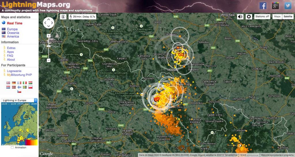 Lightningmaps.org - Mapa Wyładowań