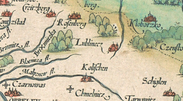 Lublinecz - Lubliniec na starej mapie Śląska