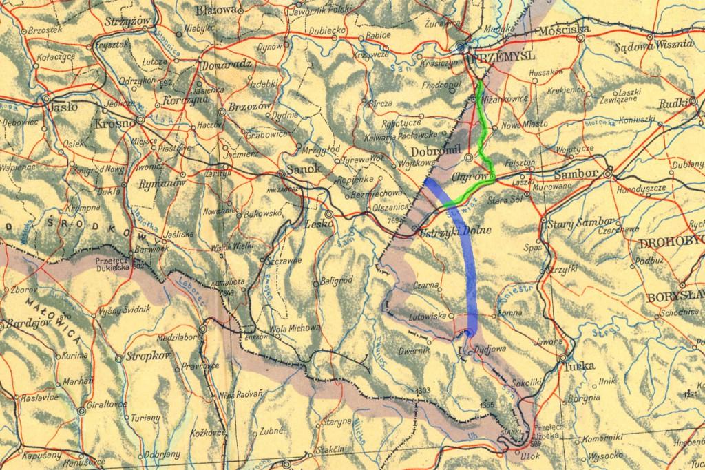 Różowy - granice Polski z 1945 r., niebieski - korekta granicy z 1951 r., zielony - fragment linii kolejowej pozostałej w ZSRR.