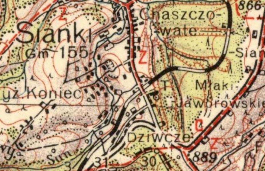 Fragment przedwojennej mapy z Siankami - 5 Opuszczonych Osad i Miejscowości