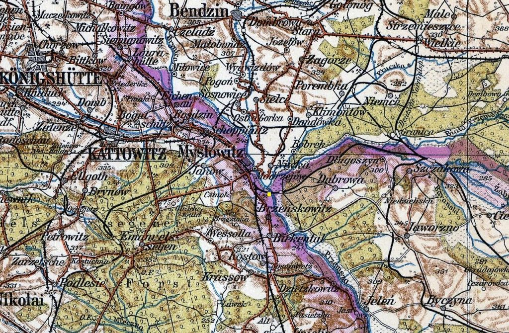 Trójstyk granic na mapie z 1910 roku.