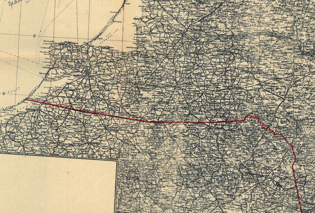 Fragment mapy, załącznik do umowy z 16.08.1945 r. miedzy RP i ZSRR.