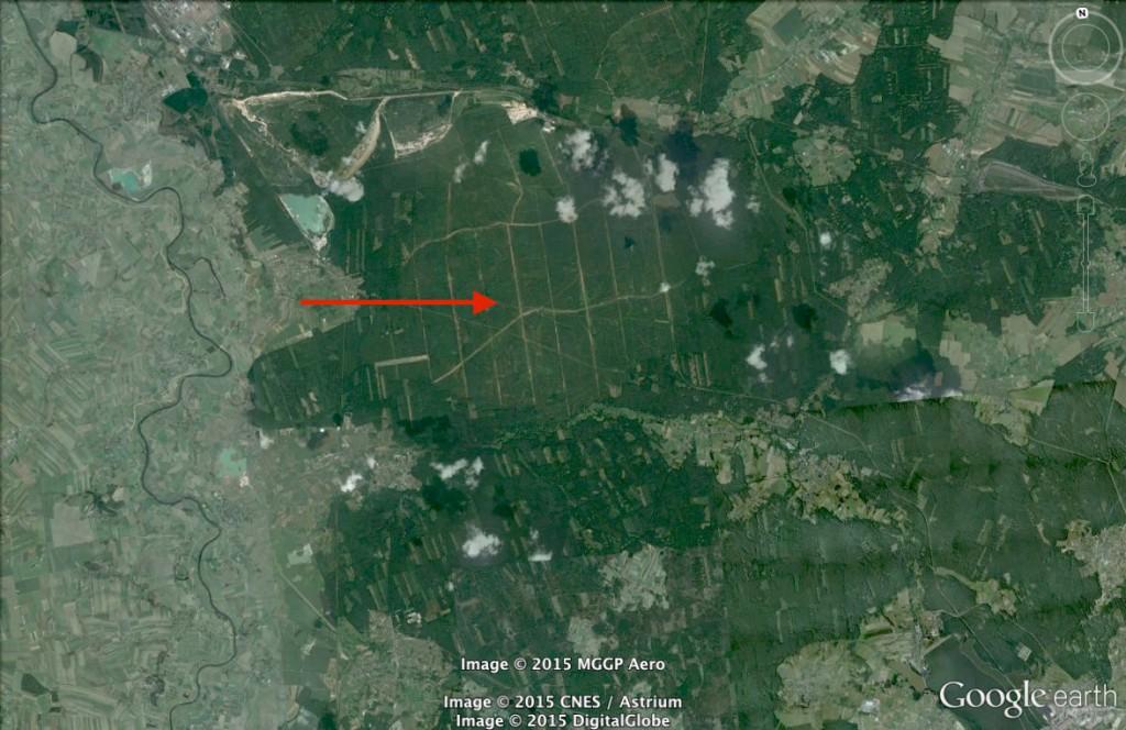 Pożar Lasu w Kuźni Raciborskiej - 10 Ciekawych Miejsc w Polsce - Źródło: Google Earth