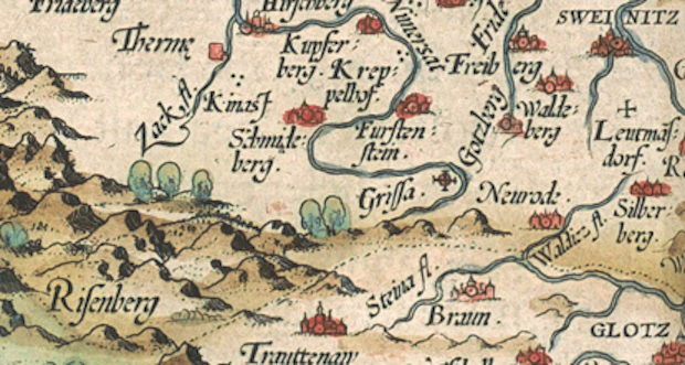 Karkonosze, Wałbrzych, Świdnica na starej mapie Śląska - 1561 rok