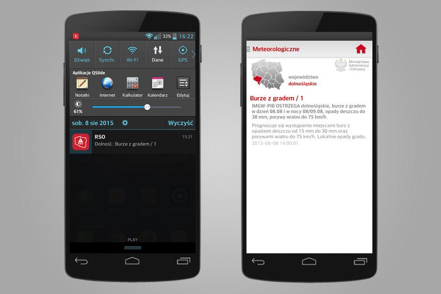 RSO Aplikacja Mobilna - Ostrzeżenie Przed Burzami z Gradem