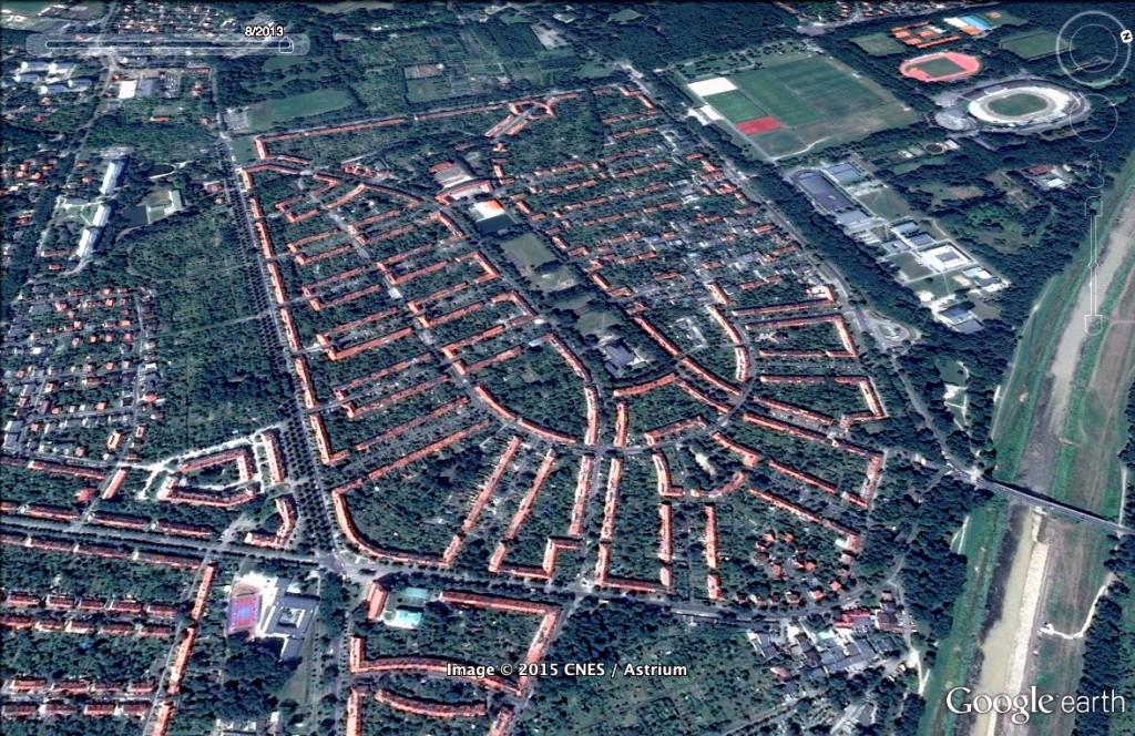 Sępolno, osiedle w kształcie orła - 10 Ciekawych Miejsc w Polsce - Źródło: Google Earth
