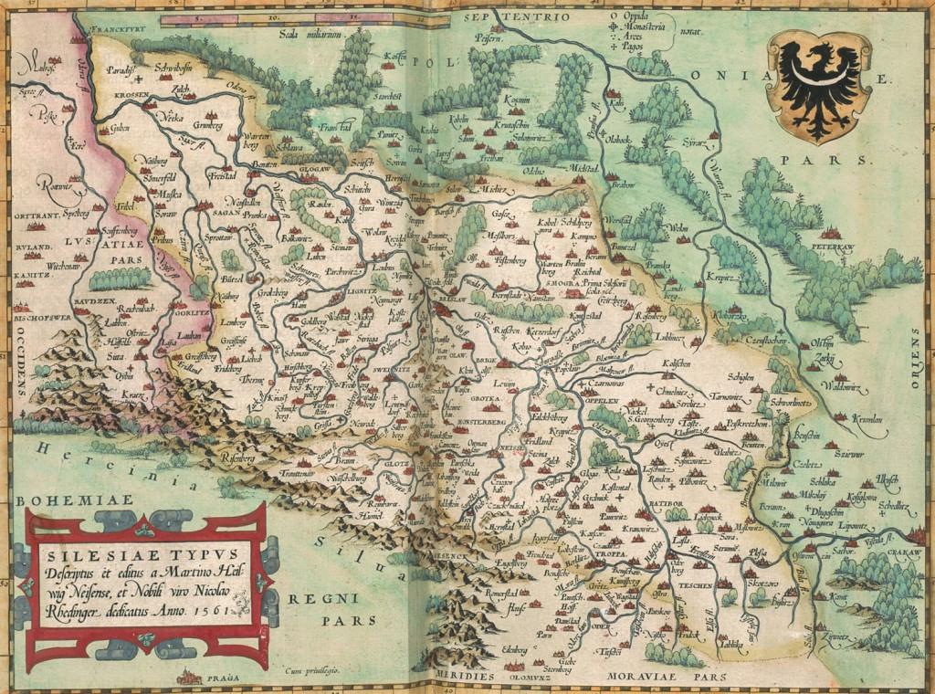 Stara mapa Śląska z 1561 roku - Atlas Abrahama Orteliusa
