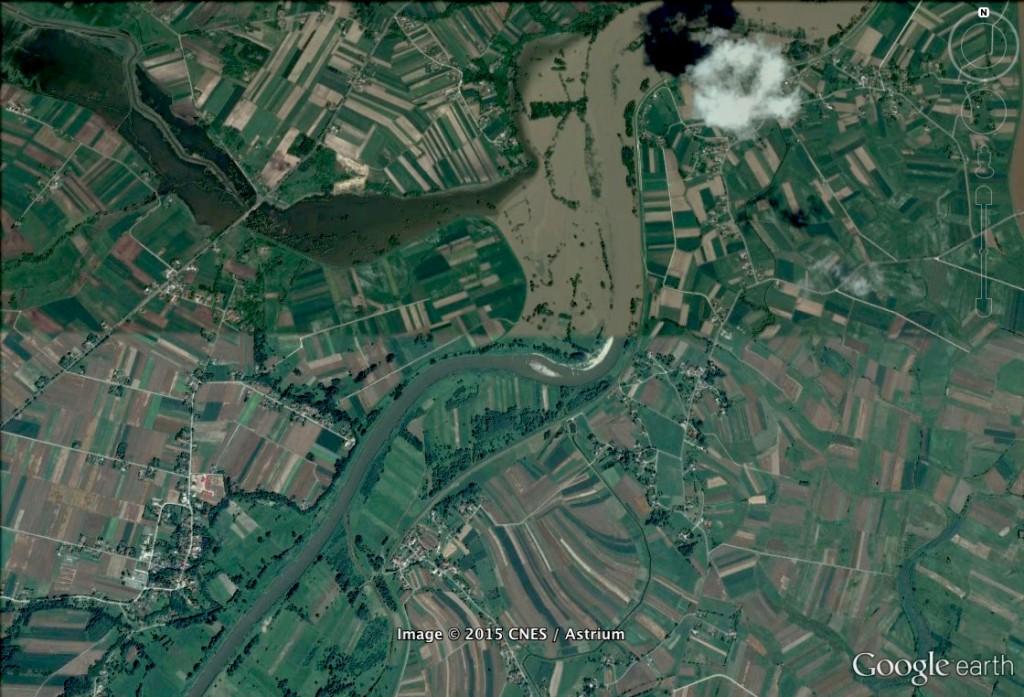 Wylanie Wisły - 10 Ciekawych Miejsc w Polsce - Źródło: Google Earth