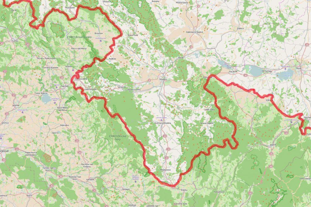 Współczesne granice Ziemi Kłodzkiej i Dolnego Śląska - Źródło: www.openstreetmap.org