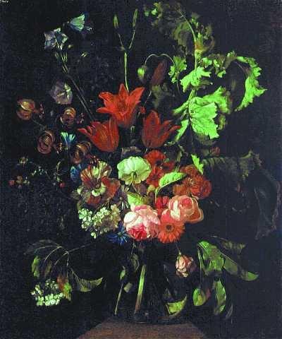 Kwiaty w szklanym wazonie - Jacob van Walscapelle