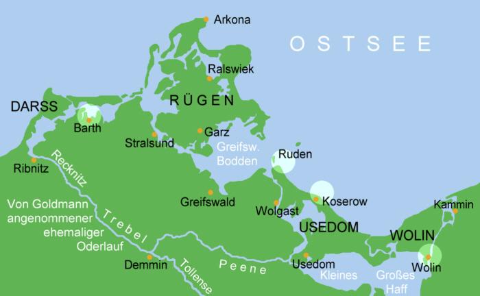 Możliwe miejsca położenia legendarnej WInety - Źródło: commons.wikimedia.org