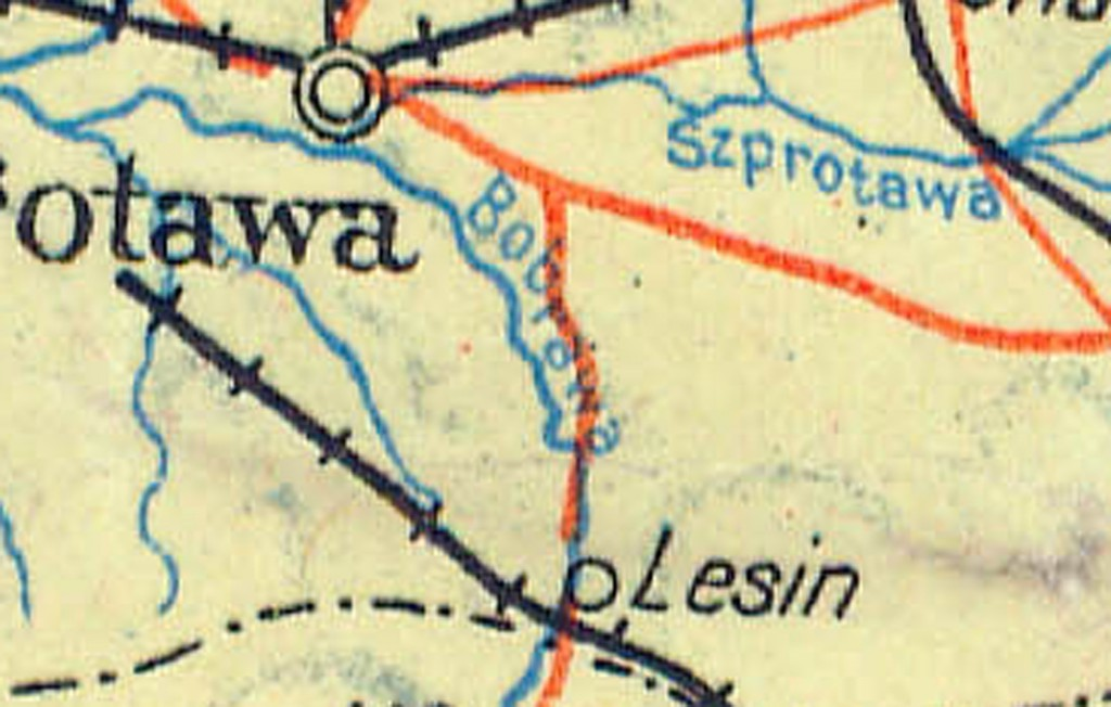 Bobrawa to dziś Bóbr - Powojenna mapa Polski - Źródło: polski.mapywig.org