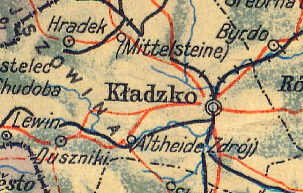 Kładzko - Powojenna mapa Polski - Źródło: polski.mapywig.org