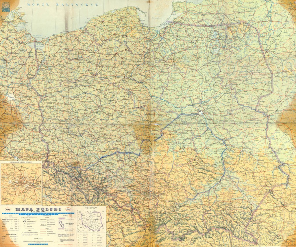 Pierwsza powojenna mapa Polski z 1945 roku - Źródło: polski.mapywig.org