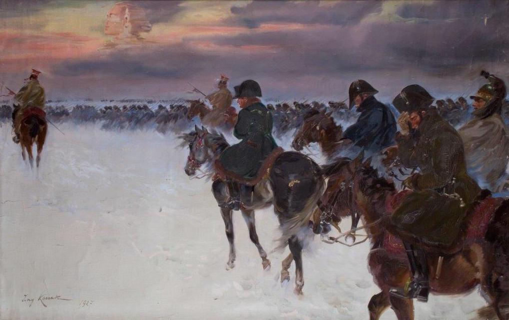 Odwrót Napoleona spod Moskwy - Jerzy Kossak - Zrabowane i odzyskane obrazy