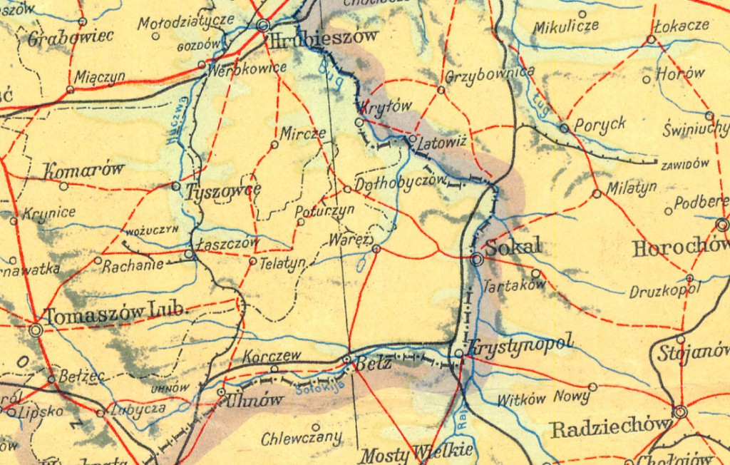 Granica w rejonie zakola Bugu i Sokal - Powojenna mapa Polski - Źródło: polski.mapywig.org