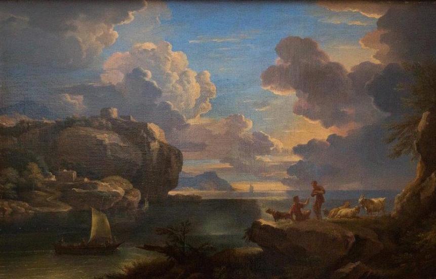 Spokojne morze przy skalistym brzegu - Pieter Mulier