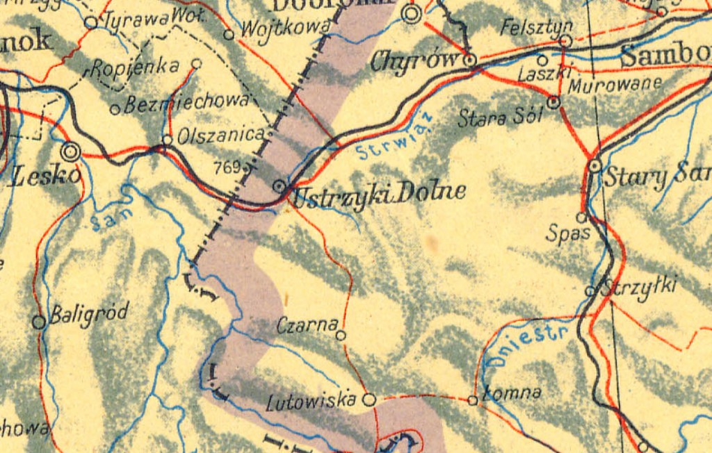 Ustrzyki Dolne w ZSRR - Powojenna Mapa Polski - Źródło: polski.mapywig.org