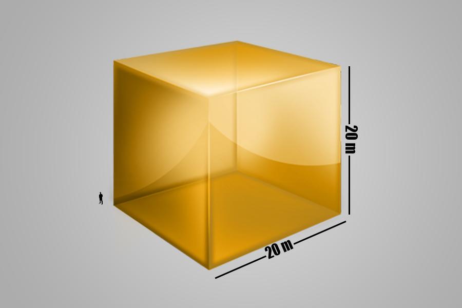 Całe wydobyte dotychczas złoto stanowi sześcian o bokach długości około 20 m.