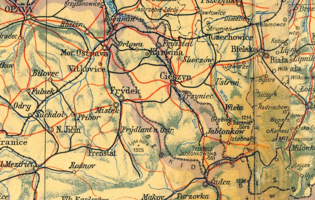 Zaolzie - Terytorium sporne - Źródło: polski.mapywig.org