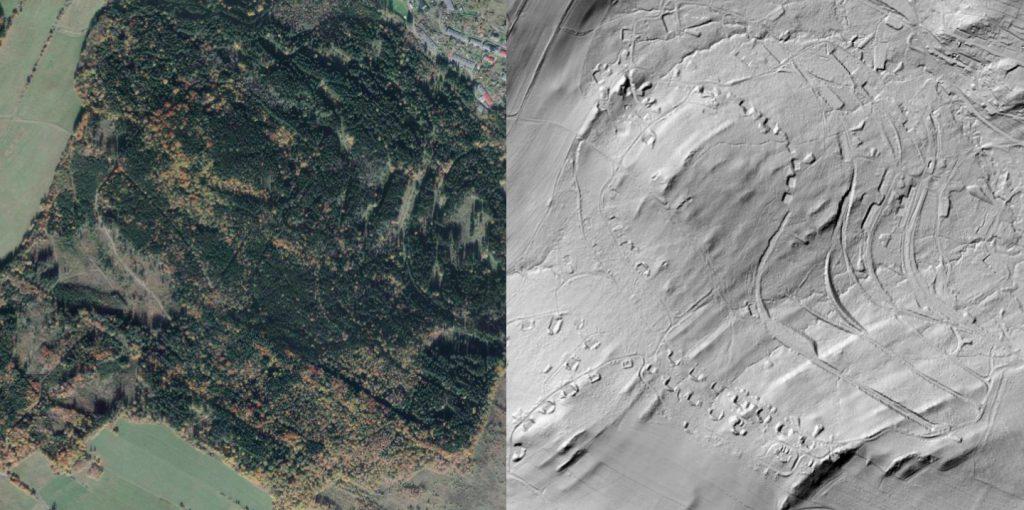 Antonówka, zdjęcie satelitarne i obraz LIDAR - Źródło: geoportal.gov.pl