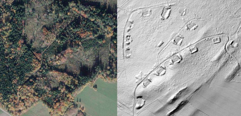 Przybliżenie na obiekty w lesie, zdjęcie satelitarne i obraz LIDAR - Źródło: geoportal.gov.pl