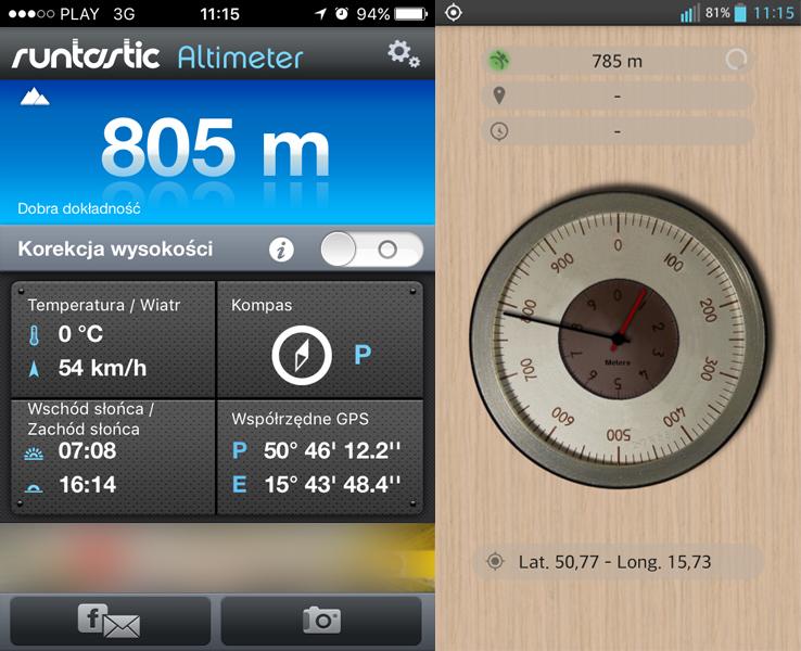 Pomiary wysokości w miejscu A (zrzut z obu urządzeń) - anomalia grawitacyjna w Karpaczu