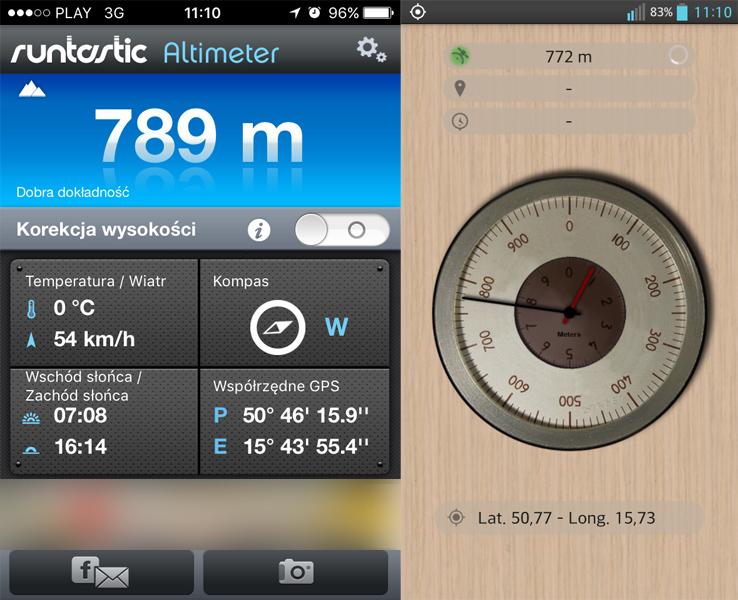 Pomiary wysokości w miejscu B (zrzut z obu urządzeń) - anomalia grawitacyjna w Karpaczu