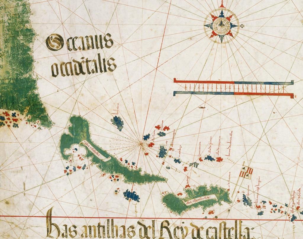 Floryda i Wyspy Karaibskie - Portugalska mapa świata z 1502 roku