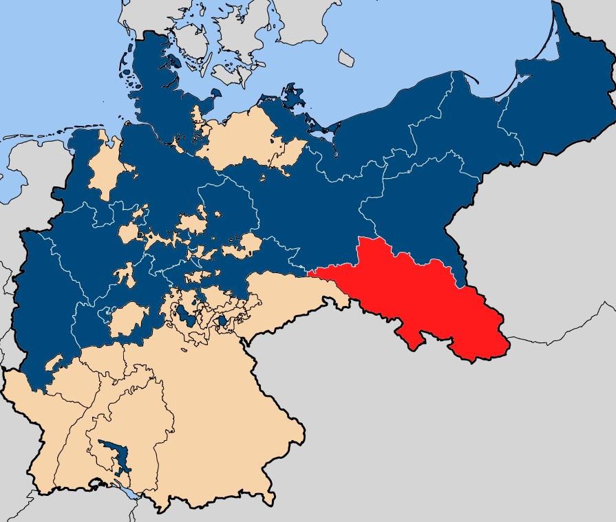 Prowincja Śląska na tle Prus i granic Cesarstwa Niemieckiego - Autor: 52 Pickup Źródło: wikimedia.org