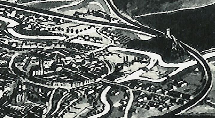 Centrum Jeleniej Góry i z prawej wieża na Wzgórzu Krzywoustego
