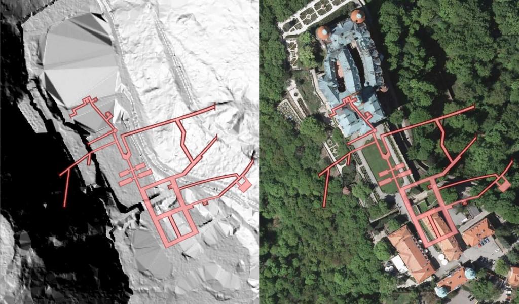 """Kompleks """"Książ"""" - Obraz: Geoportal - Rzut Podziemi: Les7007"""
