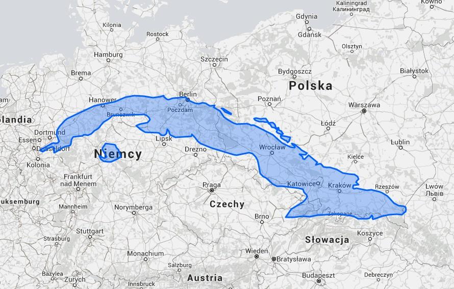 Rozmiar Kuby na tle Polski i Niemiec - Źródło: thetruesize.com