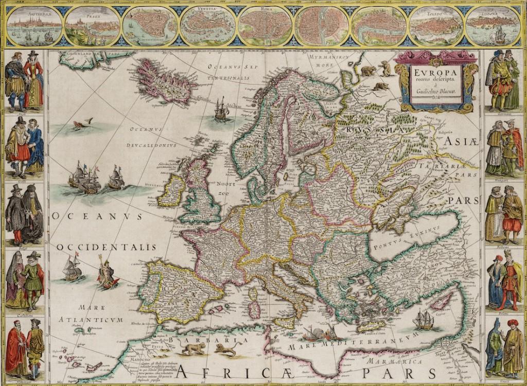 Stara Mapa Europy z 1644 Roku - Autor: Willem Blaeu