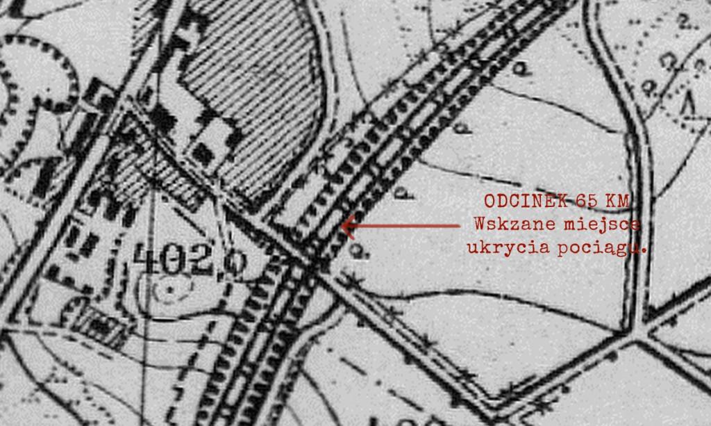 Stara niemiecka mapa z 1930 roku - Złoty Pociąg miejsce ukrycia