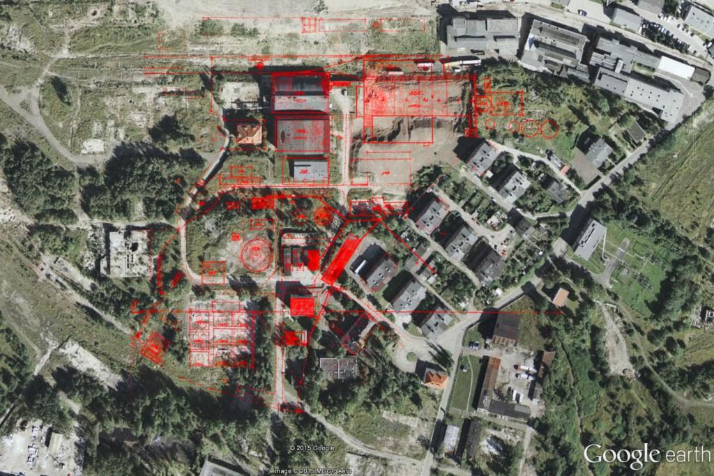 Plany zakładów naniesione na współczesne zdjęcie satelitarne - Źródło: dolny-slask.org.pl i Google Earth