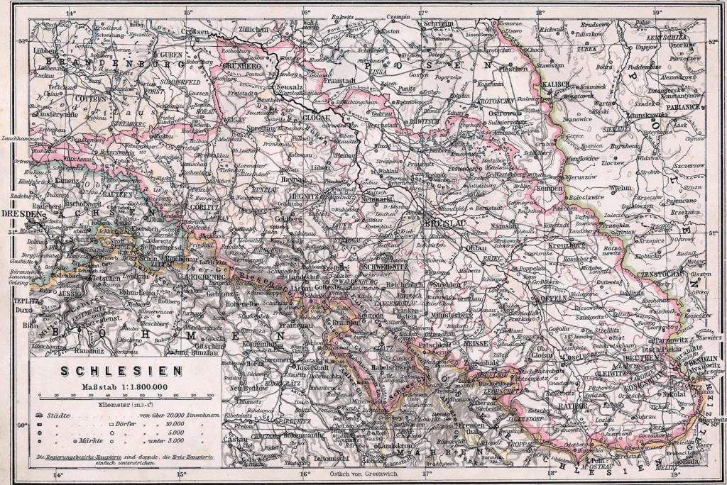 Mapa Prowincji Śląskiej - Początek XX wieku - 4 Mity Dolnego Śląska