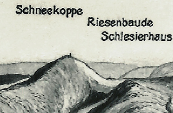 Śnieżka i karkonoskie schronisko Dom Śląski - Schneekoppe, Riesenbaude Schlesierhaus