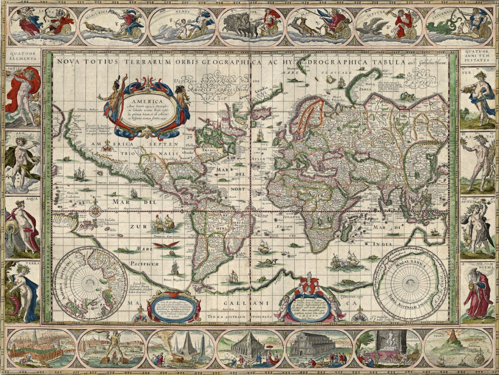 Stara mapa świata z 1635 roku - Autor: Willem Blaeu
