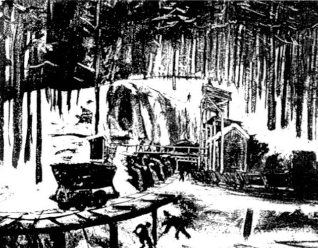 Szkic Augusta Manningera z OT z 1945 roku przedstawiający budowę Riese